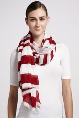 Marc Jacobs Striped Cotton Scarf Redwhite - Lyst