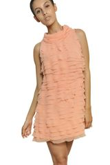 Moschino Ruffled Techno Mousseline Dress - Lyst