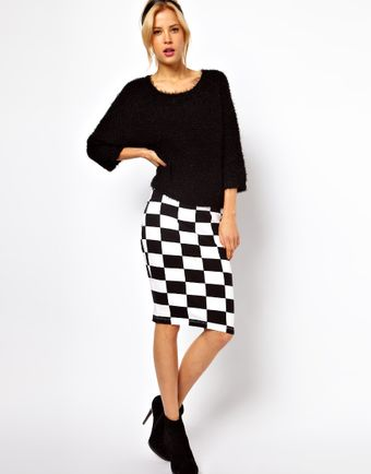 ASOS Collection Asos Pencil Skirt in Checkerboard Print - Lyst