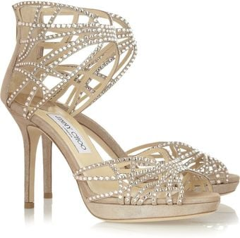 Jimmy Choo Dina Crystal Embellished Suede Sandals - Lyst