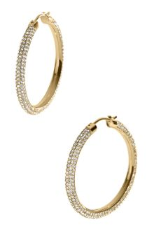 Michael Kors Pave Hoop Earrings Golden - Lyst