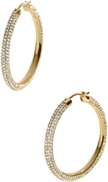 michael kors gold hoop earrings michael kors pave hoop earrings golden in gold one size 2006