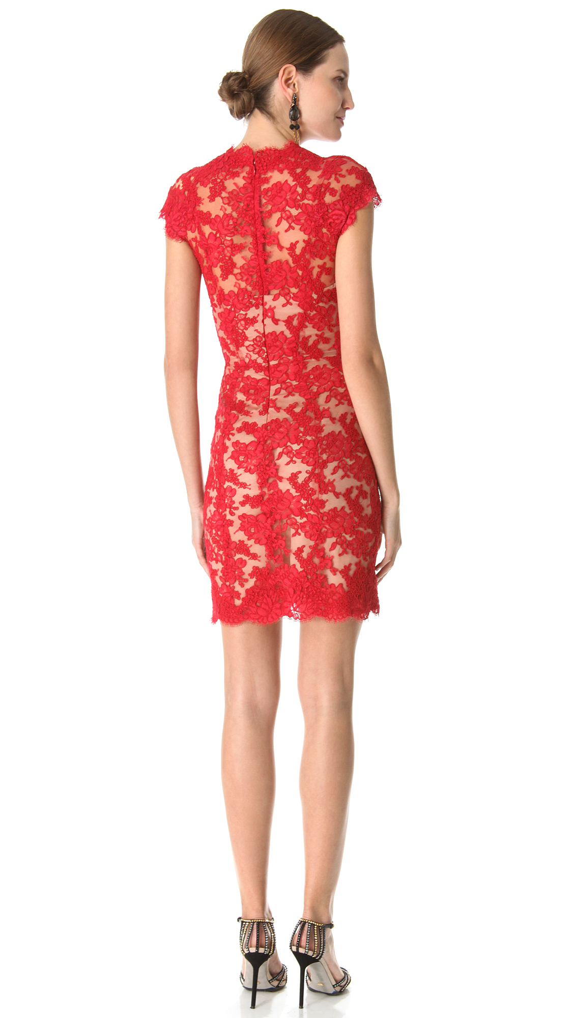 Lyst - Reem acra Lace Cocktail Dress in Red