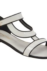 Sergio Rossi Piped Stylized Band Flat Sandal - Lyst