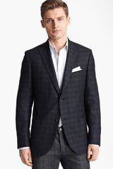 Z Zegna Trim Fit Check Blazer - Lyst