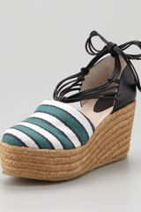 Chloé Striped Canvas Espadrille Wedge Green/black - Lyst