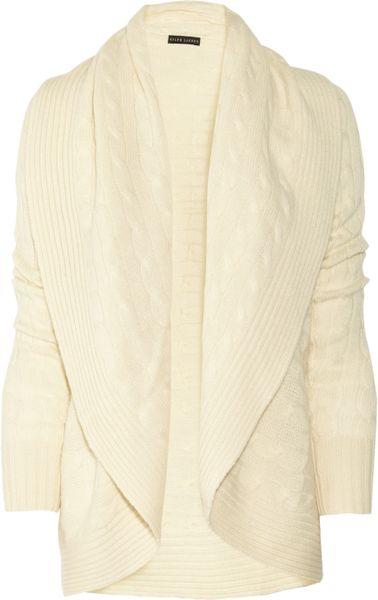 Ralph Lauren Black Label Shawl Collar Cable Knit Cardigan