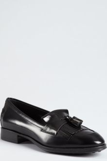 Tod's Black Polished Leather Tassel Loafers - Lyst