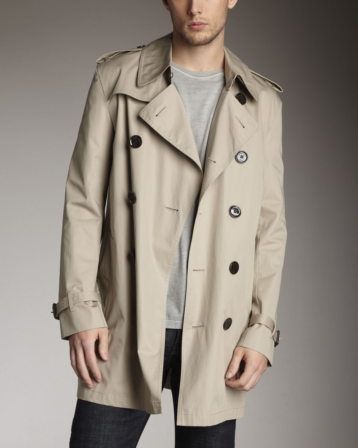 burberry brit classic trench coat taupe in brown for men. Black Bedroom Furniture Sets. Home Design Ideas