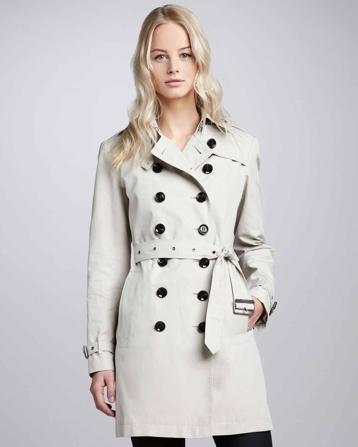 burberry brit classic cotton trenchcoat in beige trench. Black Bedroom Furniture Sets. Home Design Ideas