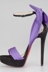 Christian Louboutin Vampanodo Satin Bow Red Sole Sandal in Purple (black/purple) - Lyst
