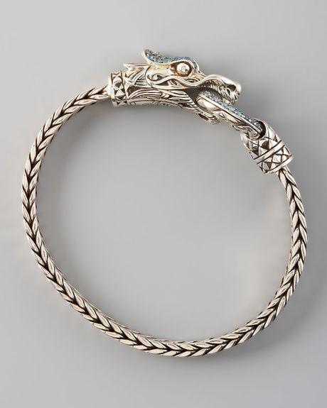 John Hardy Naga Head Bracelet In Gold Blue Lyst