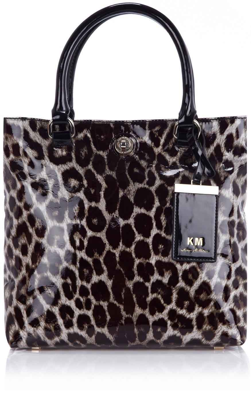 61531960ff Karen Millen Patent Leopard Print Tote - Lyst