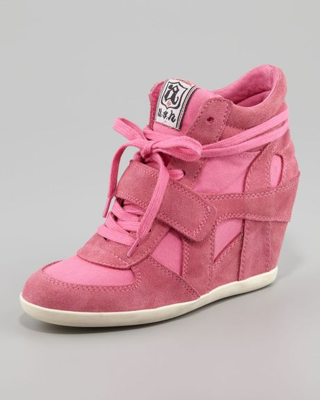 ash bowie suede canvas wedge sneaker in pink lyst