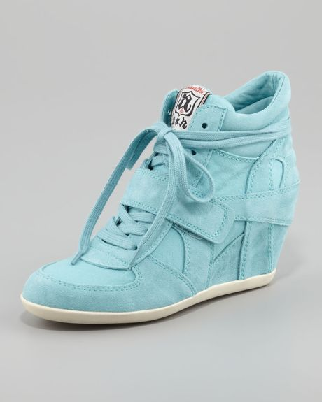 huge selection of ec7a1 88e44 Ash Bowie Suede Canvas Wedge Sneaker in Blue (turquoise)   Lyst