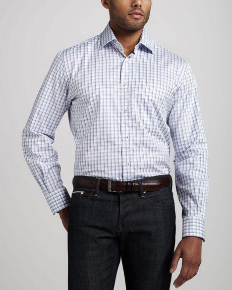 Peter millar check sport shirt royal purple in purple for for Royal purple mens dress shirts