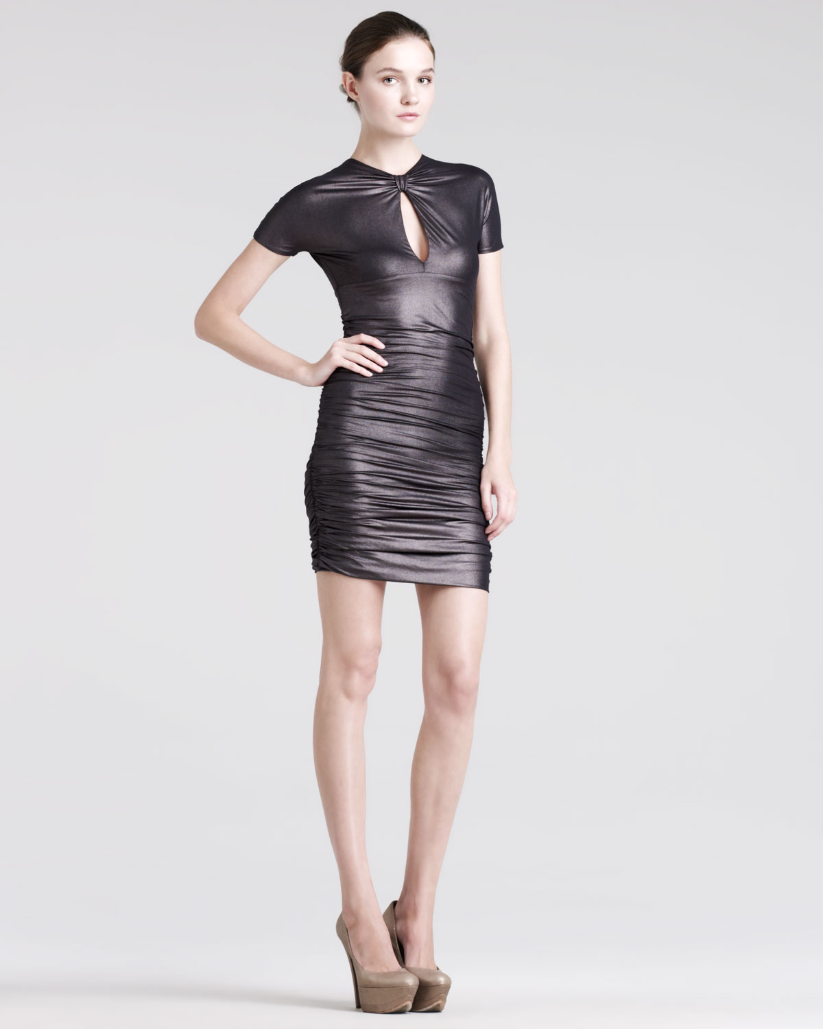 Lyst Balmain Ruched Keyhole Dress In Black
