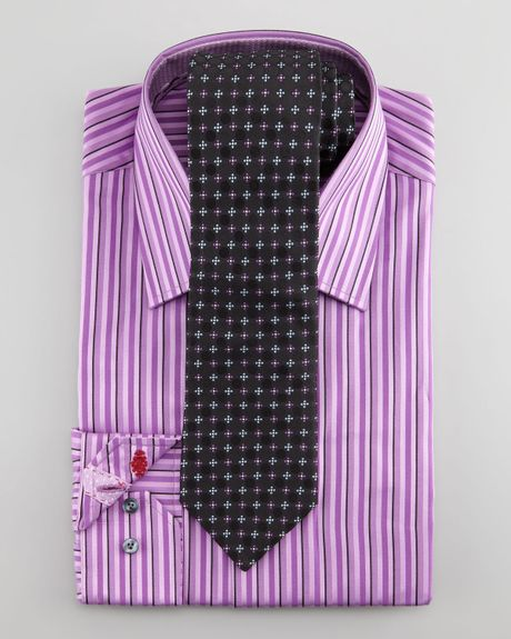 Robert graham daly striped dress shirt purple in purple for Purple striped dress shirt