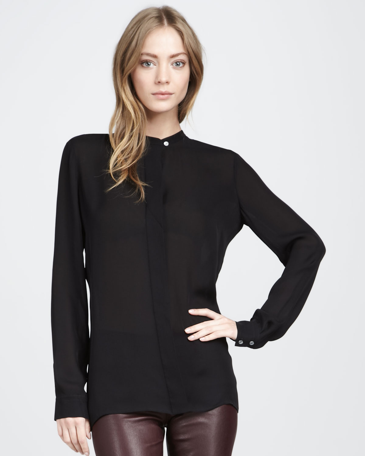 Vince Silk Blouse in Black | Lyst
