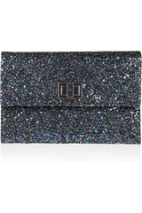 Anya Hindmarch Valorie Glitter Finished Leather Clutch - Lyst