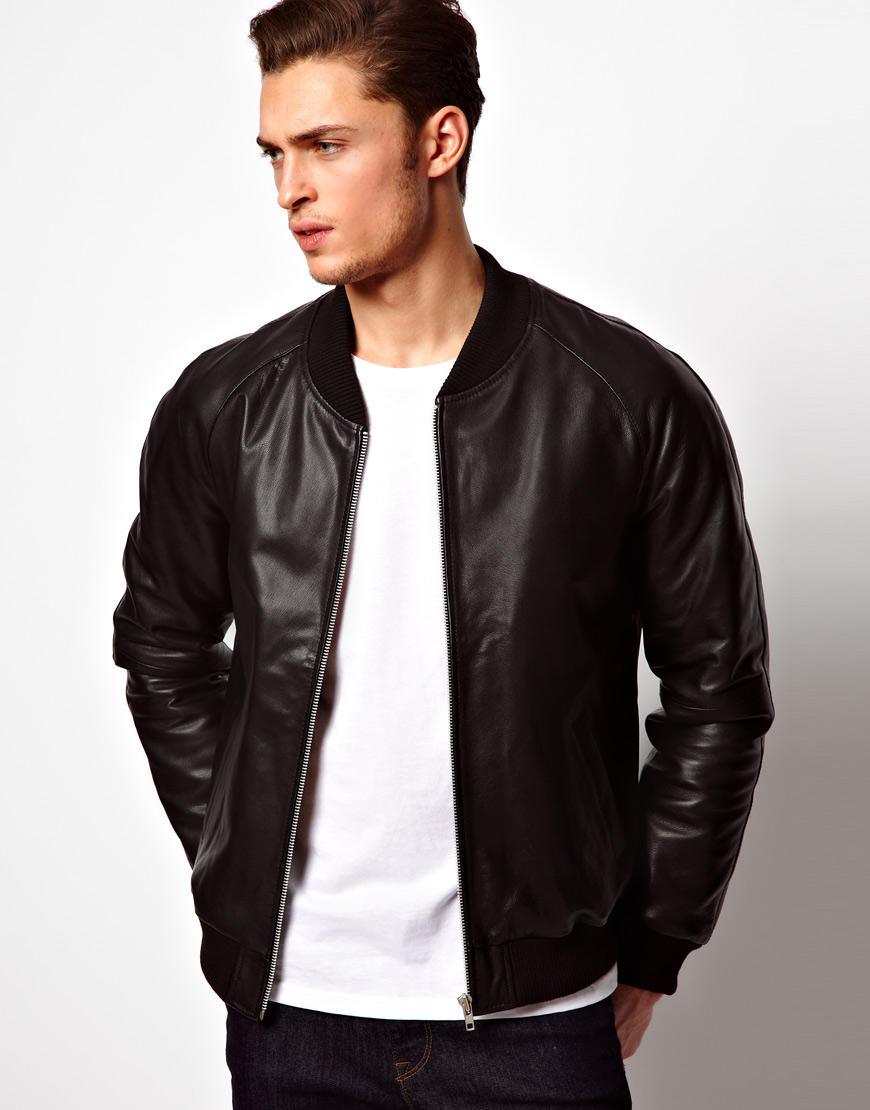 Lyst - Asos Leather Bomber Jacket in Black for Men