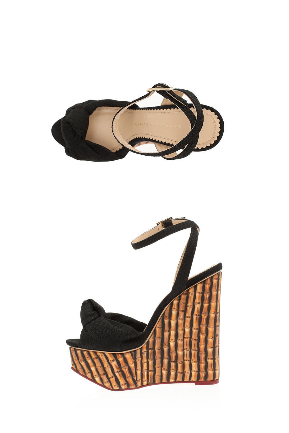 382216281656 Lyst - Charlotte Olympia Bamboo Wedge Linen Sandals in Black