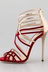 Jimmy Choo Maury Velvet Leather Sandal - Lyst