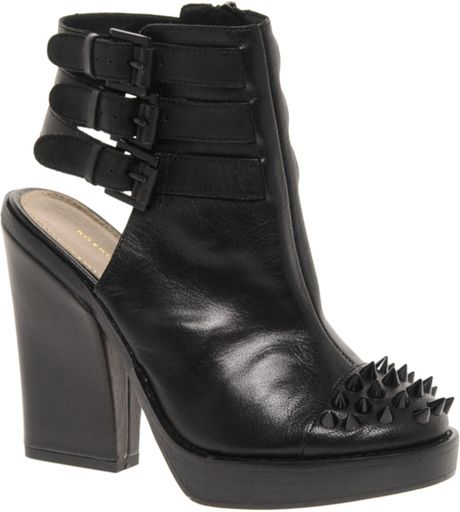miss kg kg vex leather cut out shoe boots in black lyst