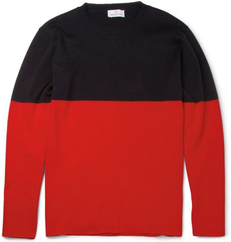Hentsch Man Two-tone Knitted Cotton Sweater in Red for Men - Lyst