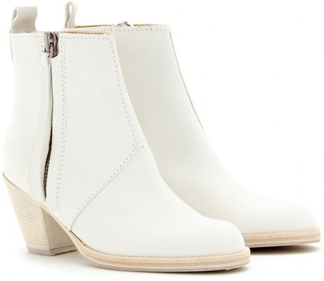 Acne Pistol Short Boots in White - Lyst