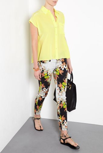 Equipment Marley Yellow Silk Top - Lyst