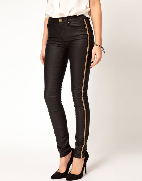 Asos Asos Waxed Skinny Jeans with Chain Side Embellishment in Black - Lyst