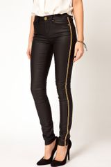 Asos Asos Waxed Skinny Jeans with Chain Side Embellishment