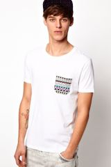 Asos Asos T-shirt with Contrast Printed Pocket - Lyst