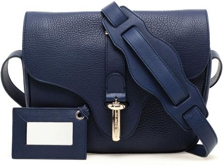 Balenciaga Tube Small Grained Leather Handbag in Blue