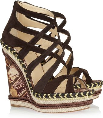 Christian Louboutin Tosca 140 Printed Twill and Suede Sandals - Lyst
