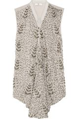 Day Birger Et Mikkelsen Embellished Georgette and Silkcharmeuse Top - Lyst