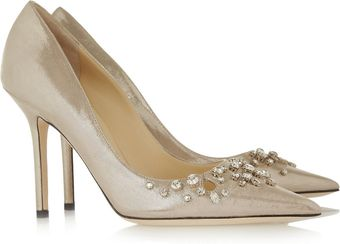 Jimmy Choo Flick Embellished Glitter Finished Leather Pumps - Lyst