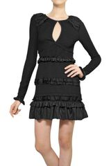 Nina Ricci Ruffled Stretch Smocked Dress - Lyst