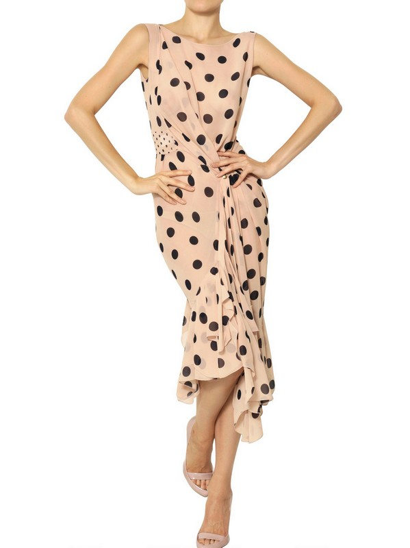 Nina Ricci Polka Dot Silk Chiffon Dress In Natural Lyst