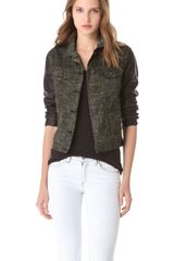 Rag & Bone The Camo Jean Jacket with Leather Sleeves - Lyst