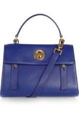Yves Saint Laurent The Muse Two Small Leather and Canvas Tote - Lyst