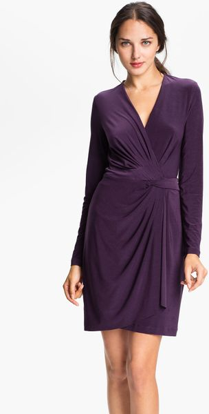 Alex & Ava Draped Faux Wrap Dress Petite - Lyst