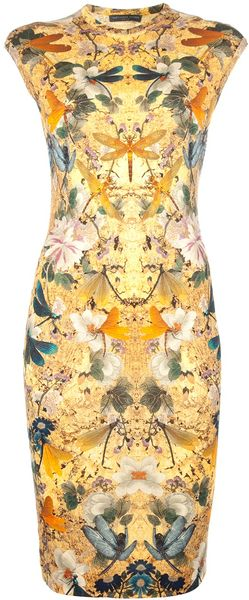 Alexander McQueen Multicoloured Print Dress - Lyst