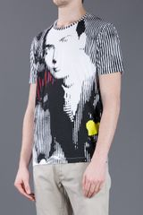 Balenciaga Striped Print TShirt in White for Men (black) - Lyst