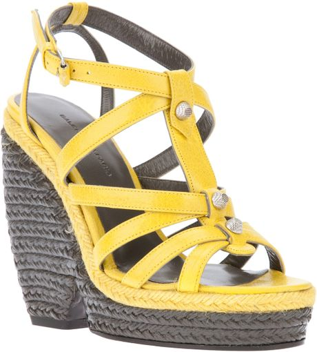 Balenciaga Wedge Sandal in Yellow