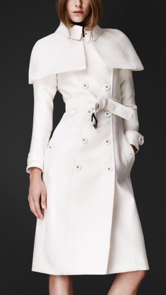 Burberry Prorsum Double Duchess Caped Trench Coat in White