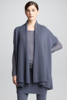 Donna Karan New York Ribbed Draped Cashmere Cardigan - Lyst