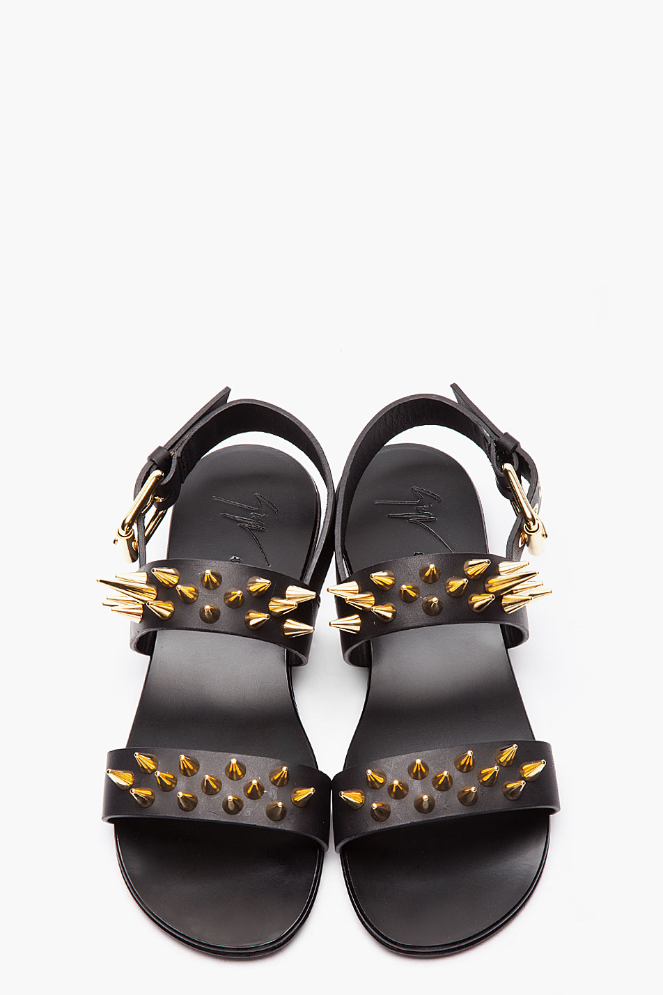 3c38bea0d Lyst - Giuseppe Zanotti Black Leather and Gold Studded Zak 10 ...