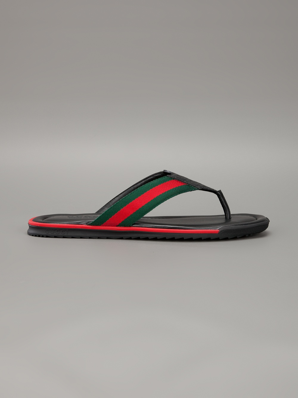 Lyst Gucci Stripe Detail Flip Flops In Black For Men